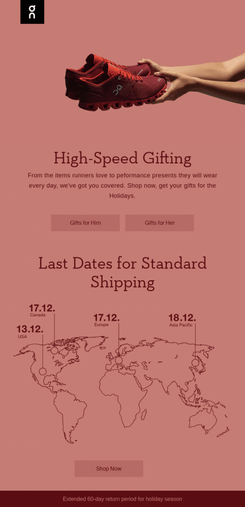 Holiday email marketing example from On Running